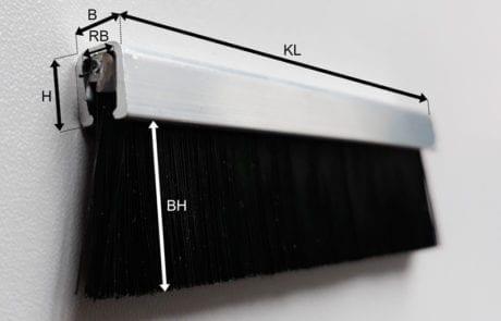 Streifenbürste in Alu U-Profil