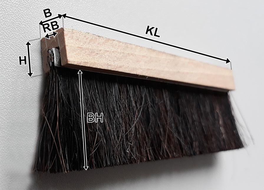 Streifenbürste in U-Holzprofil Skizze