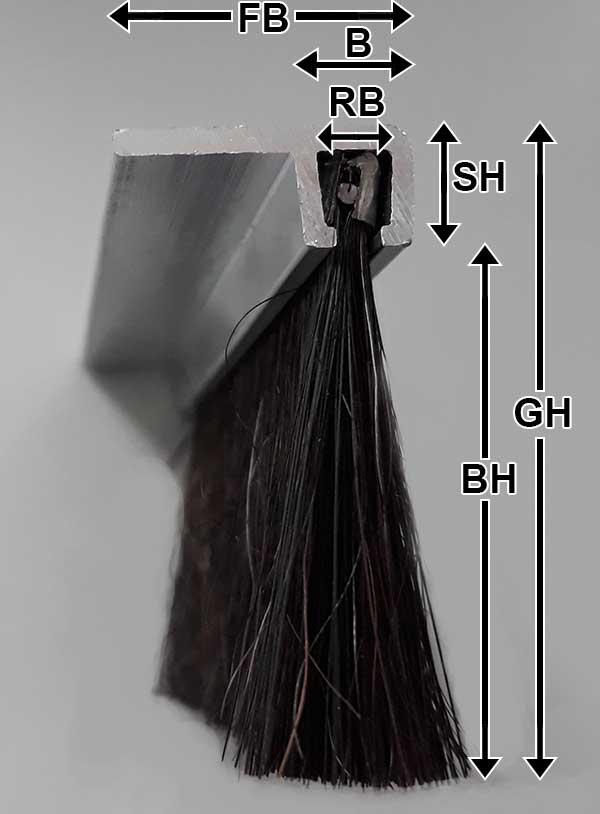 Benamßung Streifebürste F-Profil