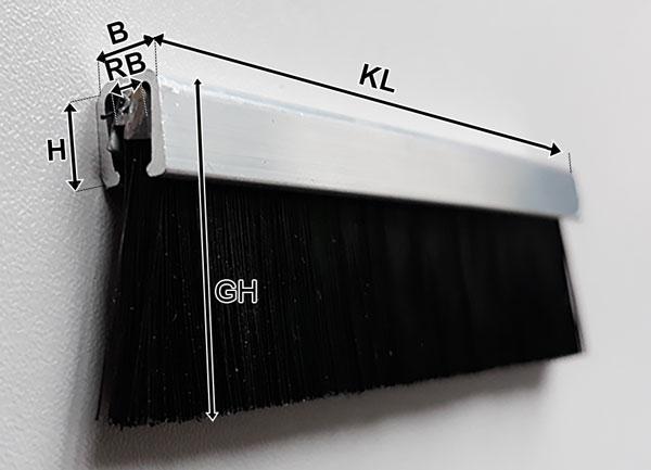Streifenbürste in U-Profil Alu
