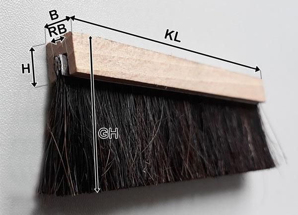 Streifenbürste in U-Profil Holz